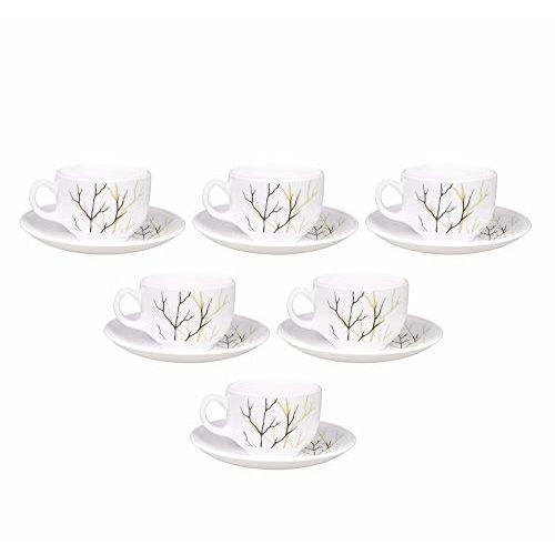 LaOpala Diva Golden Fall Tea & Coffee Cup & Saucers 160 ML Set of 6. (White)