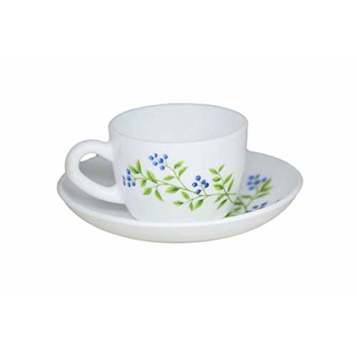 LaOpala Princess Lush Greens Tea & Coffee Cup & Saucers 110 ML Set of 6. (White)