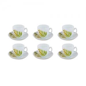 LaOpala Diva Autumn Shadow Tea & Coffee Cup & Saucers 220 ML Set of 6. (White)