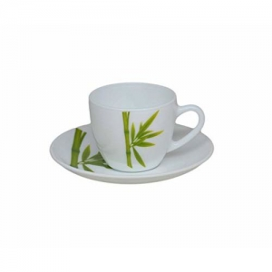 LaOpala Lily Fluted Green Tea & Coffee Cup & Saucers 160 ML Set of 6. (White)