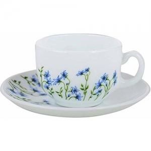 LaOpala Diva Eternal Joy Tea & Coffee Cup & Saucers 160 ML Set of 6. (White)