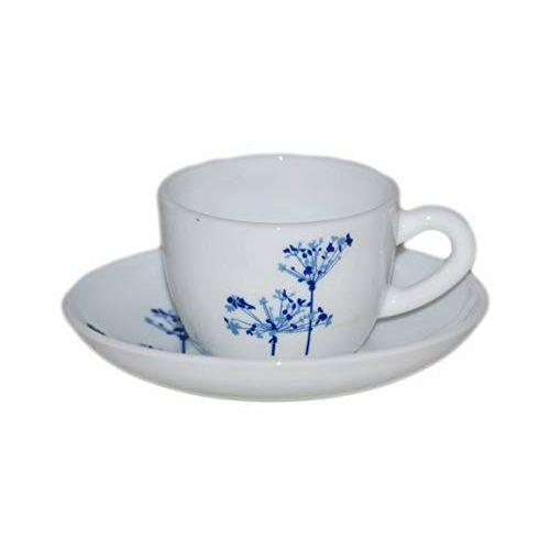 LaOpala Princess Aqua Spray Tea & Coffee Cup & Saucers 110 ML Set of 6. (White)