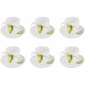 LaOpala Diva Ivory Blush Tea & Coffee Cup & Saucers 160 ML Set of 6. (White)