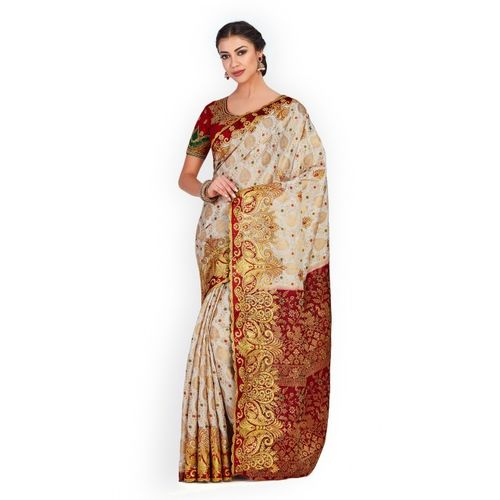 MIMOSA Off-White Art Silk Embroidered Kanjeevaram Saree