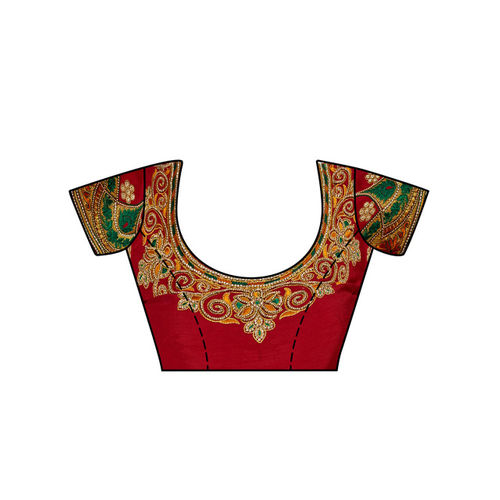MIMOSA Off-White Art Silk Embroidered Kanjeevaram Saree