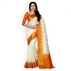 MIMOSA Off-White & Orange Art Silk Woven Design Kanjeevaram Saree