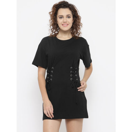 5ffdeed6801 ... FOREVER 21 Women Black Solid T-shirt Dress with Lace-Ups ...