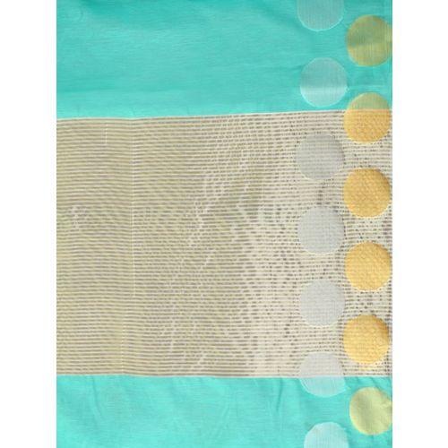 MIMOSA Sea Green Pure Cotton Solid Kanjeevaram Saree
