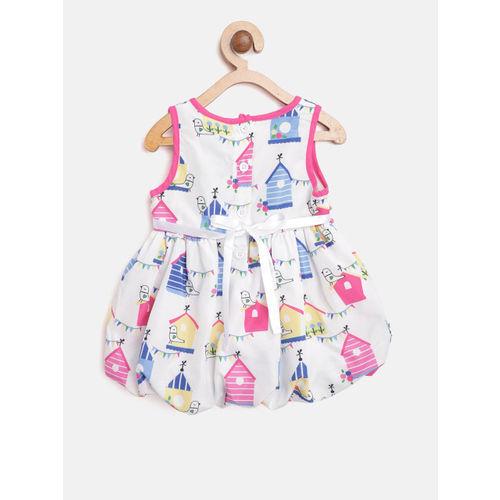 612 league Girls White & Pink Printed Balloon Dress