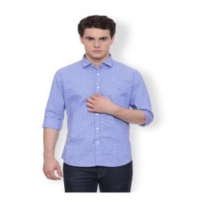 Van Heusen Blue Slim Fit Cotton Shirt