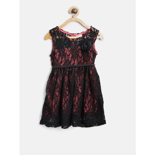 612 league Girls Black & Pink Self-Design Fit & Flare Dress