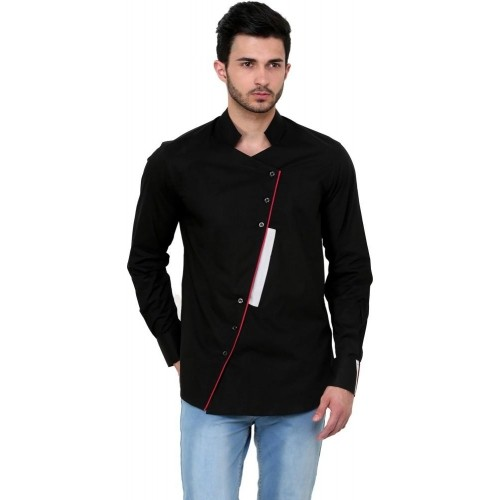 Dazzio Black Solid Cotton Slim Fit Party Wear Shirt