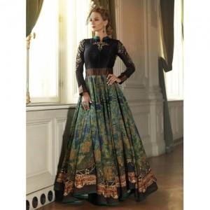55a86b7f058a Buy Muskan Designer Black Digital Print Full Sleeve Gown online ...