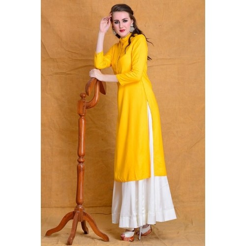 Buy Street Style Store Yellow Solid Kurti With White Long Skirt ...