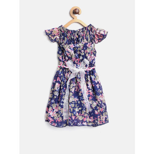 612 league Girls Navy & Pink Printed Fit & Flare Dress