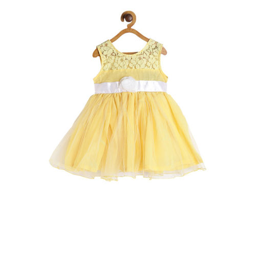 612 league Girls Yellow Self Design Fit and Flare Dress