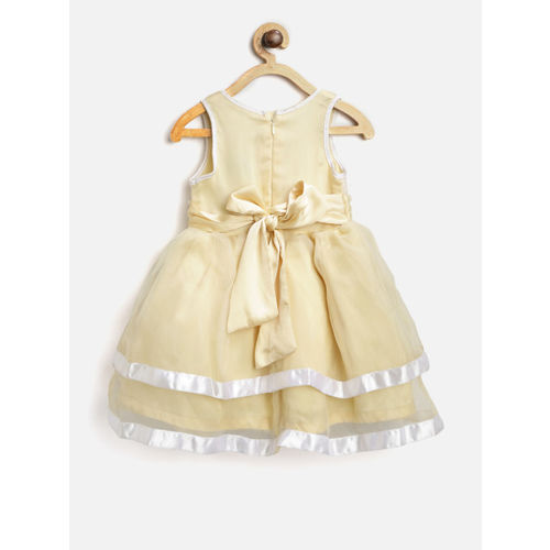 612 league Girls Light Yellow Embellished Fit & Flare Dress