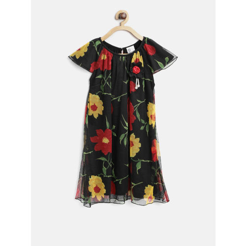 612 league Girls Black Printed A-Line Dress