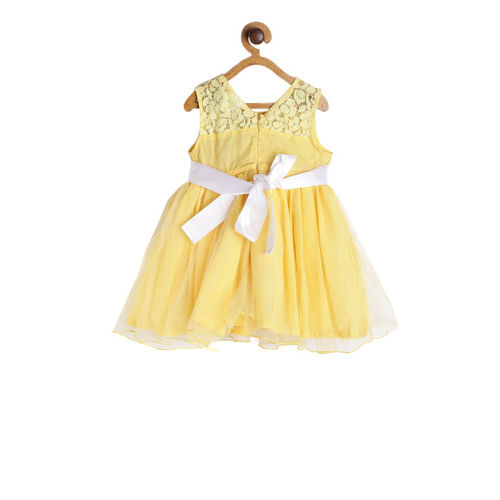 612 league Girls Yellow Solid Fit and Flare Dress