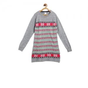 612 league Girls Grey Printed Sweater Dress