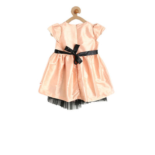 612 league Girls Peach-Coloured Solid Fit and Flare Dress