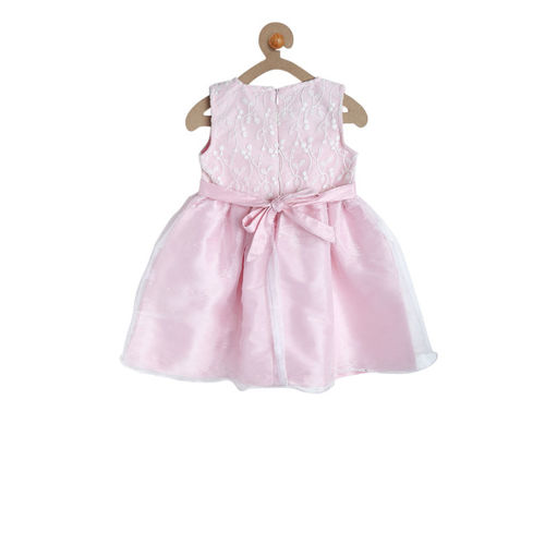 612 league Girls Pink Self Design Fit and Flare Dress