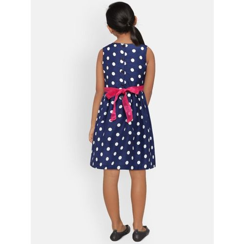 612 league Girls Navy Blue Printed Fit and Flare Dress