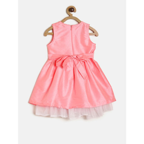 612 league Girls Pink Solid Fit and Flare Dress