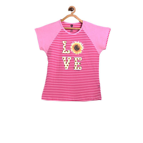 612 league Girls Pink Printed Top