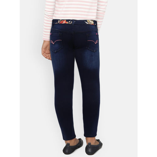 612 league Girls Navy Blue Regular Fit Mid-Rise Clean Look Stretchable Jeans