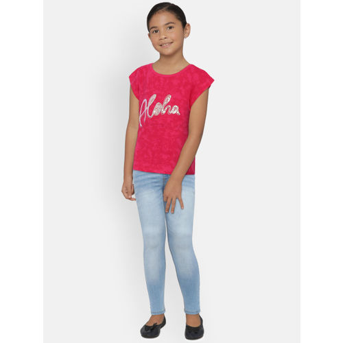 612 league Girls Blue Regular Fit Mid-Rise Clean Look Stretchable Jeans