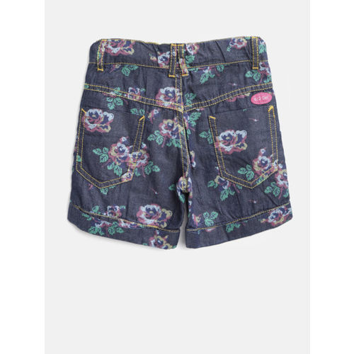 612 league Girls Navy Blue Floral Print Chambray Shorts