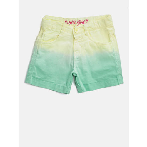 612 league Girls Yellow & Sea Green Dyed Regular Fit Shorts