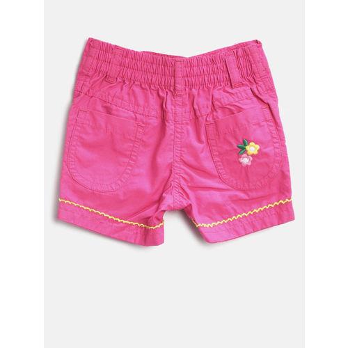 612 league Girls Pink Solid Regular Fit Shorts
