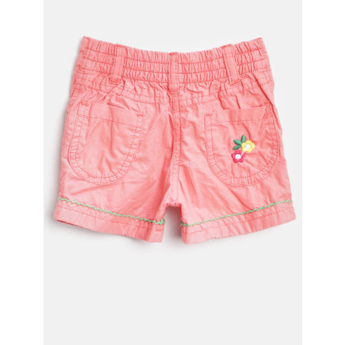 612 league Girls Peach-Coloured Solid Regular Fit Shorts