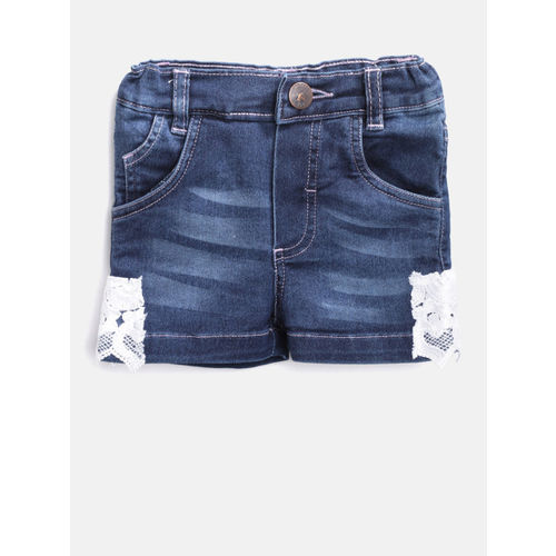 612 league Girls Blue Washed Regular Fit Denim Shorts with Lace-Detail
