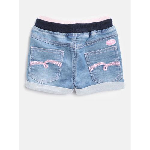 612 league Girls Blue Solid Regular Fit Denim Shorts