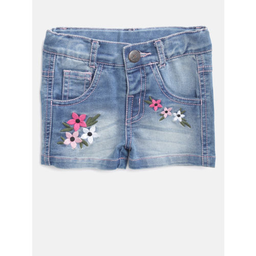 612 league Girls Blue Washed Regular Fit Denim Shorts with Embroidered Detail