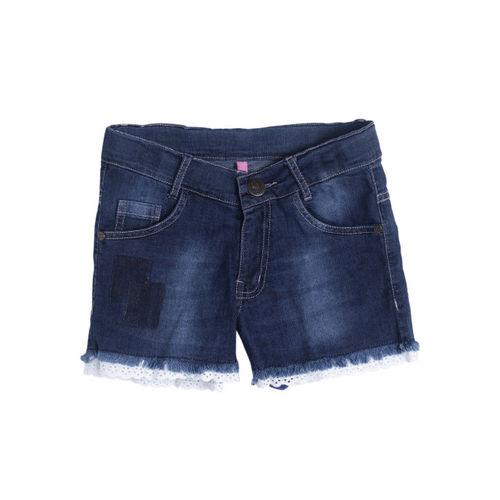 612 league Girls Navy Blue Washed Regular Fit Denim Shorts
