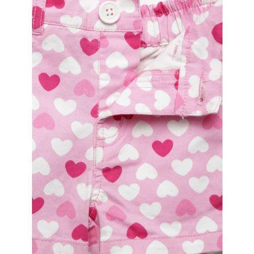 612 league Girls Pink Heart Print Shorts