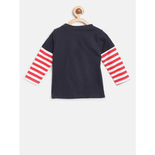 612 league Boys Navy Blue Printed Round Neck T-shirt