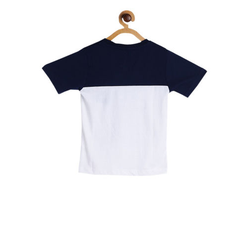 612 league Boys Navy Blue & White Printed Round Neck T-shirt