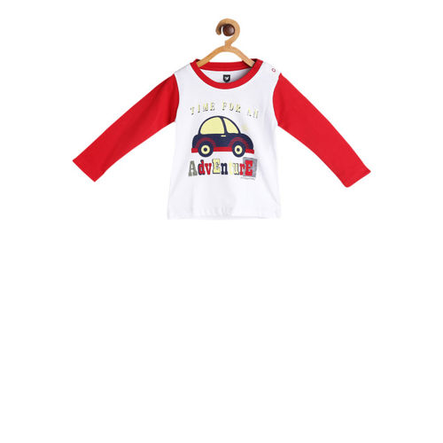 612 league Boys White & Red Printed Round Neck T-shirt