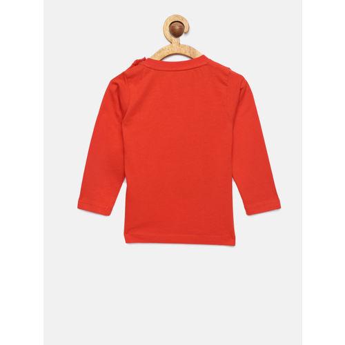 612 league Boys Orange Printed Round Neck T-shirt