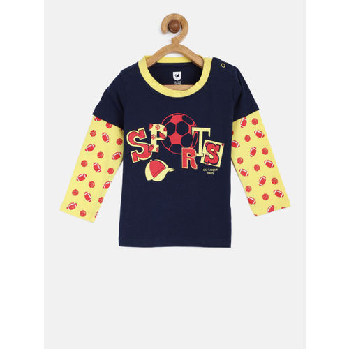 612 league Boys Navy & Yellow Printed Round Neck T-shirt