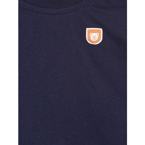 612 league Boys Navy Blue Solid Round Neck T-shirt