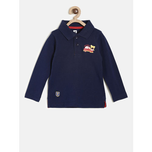 612 league Boys Navy Solid Polo Collar T-shirt