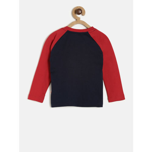 612 league Boys Navy Blue & Red Printed Round Neck T-shirt
