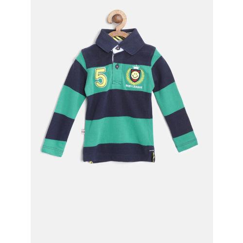 612 league Boys Navy Blue & Green Striped Polo Collar T-shirt