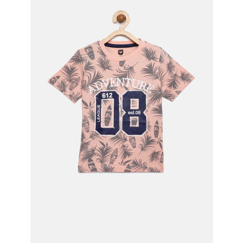 612 league Boys Peach-Coloured Printed Round Neck T-shirt